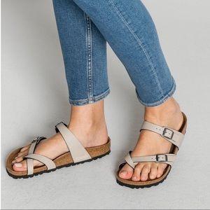 Birkenstock Mayari Beige Nubuck Sandals, 40